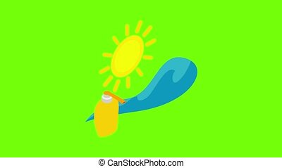 Summertime icon animation cartoon best object on green screen background