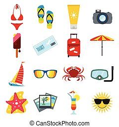 Summertime icons set - Summertime flat icons set isolated on...
