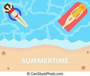 Illustration vector design of summertime. Hello summer. Woman taking a nap on the sea.
