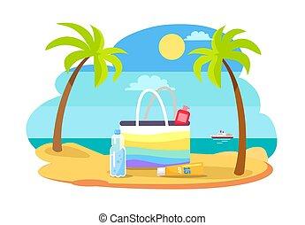 Summertime Illustration with Bag Full of SPF Cream -...