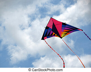 Summertime Kite - A brightly coloured kite soars up to the ...