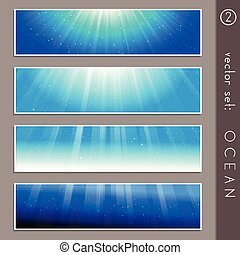 Summertime ocean banners - Set of four elegant underwater...