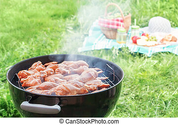 Summertime picnic in the courtyard - Cooking chicken wings on a round grill