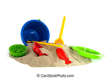 summertime at the beach with toys for children