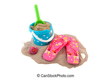 Summertime with suitcase beach sandals sunglasses and toys