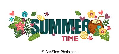 Summertime poster with bright flowers, palm leaves and coconut cocktail