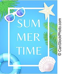 Summertime Poster with Frame Lifebuoy and Seashell