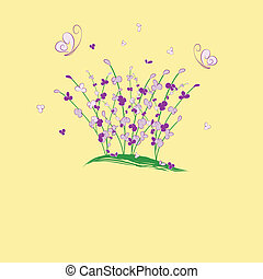 summertime purple flower buttefly greeting card