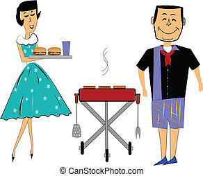 retro summer BBQ over white with husband and wife