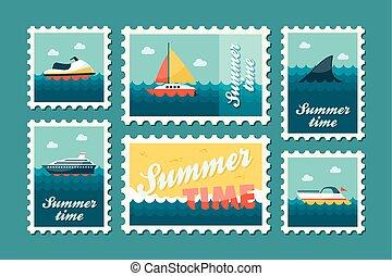 Summertime stamp set flat, vector eps 10