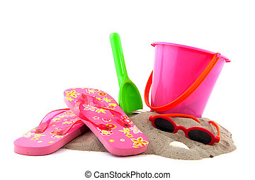 summertime at the beach with leisure objects