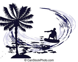 summertime - surfing - illustration of a surfer silhouette...