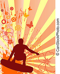 summertime - surfing - vector illustration of a wakeboarder...