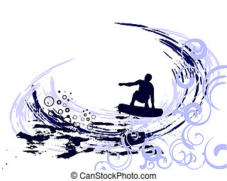 vector illustration of a wakeboarder silhouette on an abstract summer background