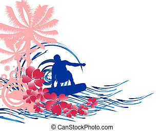 summertime - surfing - vector illustration of a wakeboarder ...