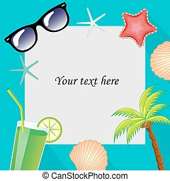 Summertime traveling template with beach summer accessories....