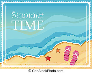 Summertime traveling template with beach summer accessories...