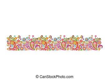 summery, borda, com, decorativo, flores coloridas, impressão