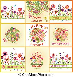 Summery cards with colorful flowers