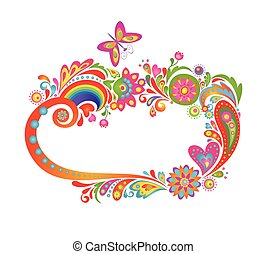 Summery colorful floral frame with