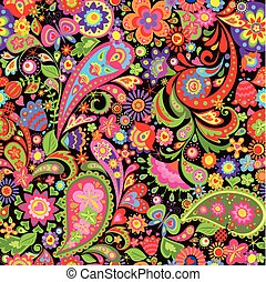 Summery decorative wallpaper with colorful flowers and paisley