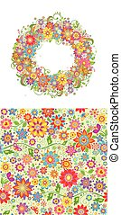 Summery design with floral wallpaper and flowers wreath for fabric, textile, wrapping paper, greeting card, invitation, wallpaper, web design