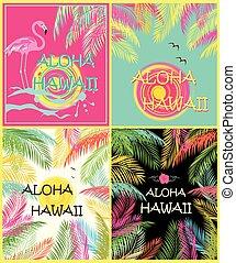 Summery fashion t shirt prints variation wit Aloha Hawaii...