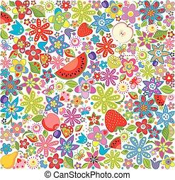 summery, floreale, carta da parati, con, frutta