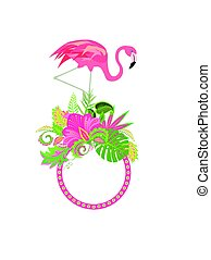 Summery frame with exotic flowers and pink flamingo