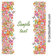 Summery greeting card with seamless decorative floral border