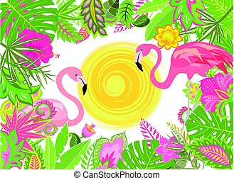 Summery holiday background with exotic flowers, sun and pink flamingo