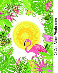 Summery tropical background with exotic flowers and pink flamingo