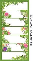 summery, tropicale, floreale, orizzontale, fiori, bandiere