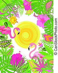 Summery vertical banner with exotic flowers, sun and pair of pink flamingo
