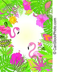 Summery vertical frame with exotic flowers and pair of pink flamingo