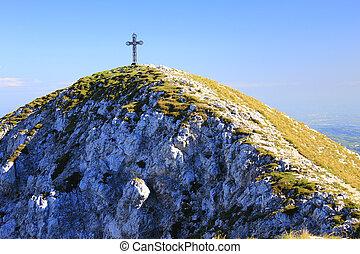Summit cross at the Punta Telegrafo (2200m), Monte Baldo, Italy