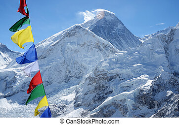 Summit of mount Everest or Chomolungma - highest mountain in the world, view from Kala Patthar, Nepal, Himalayas
