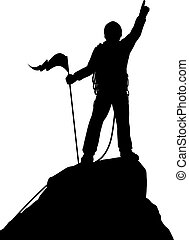 Summit success - Editable vector silhouette of a successful...