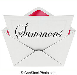 Summons to Appear in Court Letter Envelope Mail Legal...