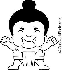 sumo, 男の子, 怒る, 漫画