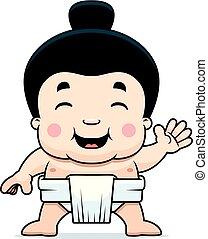 sumo, 男の子, 振ること, 漫画