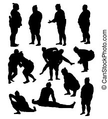 sumo, activité, et, action, silhouette