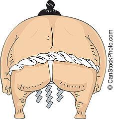 sumo, espalda, luchador, vista