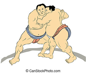 sumo, japonés, luchador