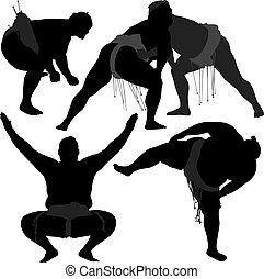 sumo luttant, silhouette