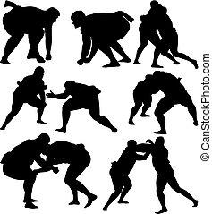 sumo, lutteurs, silhouettes