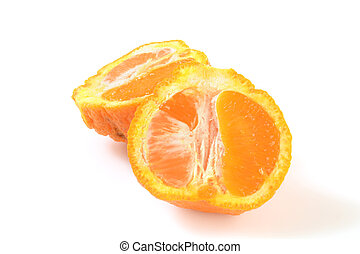 Sumo orange - A sliced sumo orange on a white background