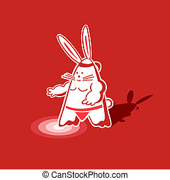 Sumo rabbit - Mighty sumo rabbit warrior ready to step into...