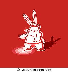 Sumo rabbit - Mighty sumo rabbit warrior ready to step into...