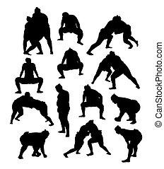 Sumo Sport Activity Silhouettes